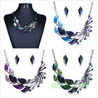 Vintage Women Peacock Charm Enamel Choker Bib Necklace Stud Earrings Set Jewelry