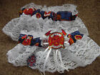 Firefighte​r Fireman Bridal Garter Set White lace trim Regular Plus size
