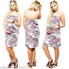 New Maternity Summer Dress Ladies Holiday Sexy Strapless Sundress One UK Size