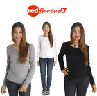 Womens Long Sleeve Top Thick Cotton Spandex Thermal Tee T-Shirt Black White Size