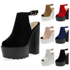LADIES PARTY ANKLE STRAP WOMENS CLEATED SOLE PLATFORM HIGH HEEL SHOES SIZE 3-8