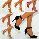 LADIES POINTED ANKLE BUCKLE STRAP CUFF STRAPPY STILETTO PARTY HIGH HEEL SHOES