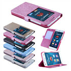 Luxury Window View Silk PU Leather Flip Stand Case Cover For Huawei Ascend G7