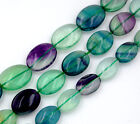 """Natural Multicolor Fluorite Flat Oval Beads 16"""" 10x14mm 12x16mm 13x18mm"""