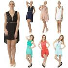 New Ladies Womens Italian Clubwear Lace Chiffon Low Front Zip Tunic Dress Top S