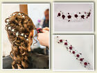 Bridal Bridesmaids Flower Hair Vine - Burgundy Dark Red - Hair Up Bun Wrap