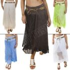 New Womens Ladies Lagenlook Lace Layer Italian Linen Maxi skirt Size 12 14 16 18