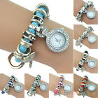 New Women Vogue Rhinestone Heart Charm Wrist Watch Faux Leather Strap Bracelet