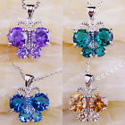 Women New Green Topaz Blue Topaz Amethyst Morganite Gems Silver Pendant Necklace