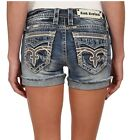Rock Revival Fashion Women Pilkin Big Stitch Vintage Denim Blue Jean Shorts H9