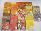 "NEW BATIK cotton fabric 4 unique fat quarters ~18x22"" or 1yd orange/yellow India"