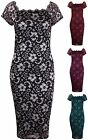Womens Plus Size Floral Lined Lace Ladies Off Shoulder Scallop Tunic Midi Dress