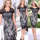 Vintage Womens V-Neck Lace Splicing Club wear Slim Evening Party Dress Plus Size