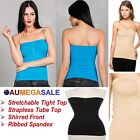 Shirred Boob Tube Top Stretch Strapless Tight Singlet Seamless Spandex
