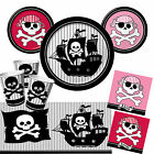 Ahoy! Pirate Boys Girls Red Pink Birthday Party Tableware, Plates, Cups, Napkins