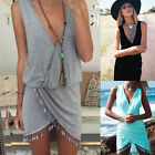 Sexy Women Summer Casual Sleeveless Party Evening Mini Dress Beach Dress V-neck