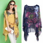 Women's Summer Batwing Sleeve Loose Chiffon Floral Print T-shirt Blouse Tops,NEW