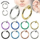 One Spring Action Titanium IP Fake Cheater Septum Nose Ear Hoop Ring