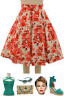 50s Style RED Orange FLORAL Pretty In Pleats High Waisted FULL Midi PINUP Skirt