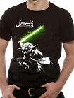 STAR WARS Jedi Master YODA Swinging Green Lightsaber OFFICIAL cotton T-SHIRT