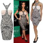 New Womens Ladies Celeb Kim Kardashian Floral Print Bodycon Dress Top size S M L