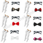 Geek Nerd Glasses Over Knee Socks & Bow Tie Fancy Dress Costume Kit School Girl