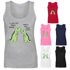 Womens Dinosaur Short Arms T-rex Love You This Much Funny Vest Tank Top  UK 8-18