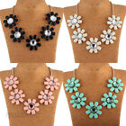 Beauty Crystal Flower Fashion Charm Chain Statement Bib Collar Necklace Chunky