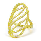 18K Yellow Gold Over Sterling Silver Cubic Zirconia Oversized Wave Design Ring