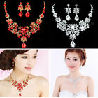Wedding Bridal Party Vogue Prom Crystal Rhinestone Necklace Earring Jewelry Set