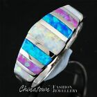 White & Blue & Pink Fire Opal Mixed Silver Band Ring Size 5 6 7 8 9 10 11 12