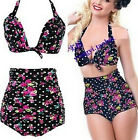 FD2110 Women Retro Pin Up High Waist Bikini Set Suit Swimwear ~Floral~ S-2XL