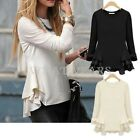 Fashion Womens Chiffon Patched Wave Hem Long Sleeves T Shirts 2 Colors S~XL FOZ