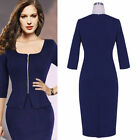 2015 Women Cocktail Dress Formal Business Party Pencil Sheath Prom Skirt Navy