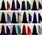 Stock Halloween Hooded Black Velvet Cloak Wedding Cape Pagan Witch 15-Colours