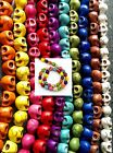 🎀 40 Skull Beads Different Colours 9x8mm For Jewellery Day Of The Dead 🎀