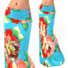 Lady Multi Colored Floral Print High Waist Fold Over Polyester Maxi Skirt Long