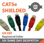 Shielded Ethernet Network Cable Snagless Patch Lead RJ45 CAT5E 100% Copper (LOT)