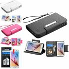 For Samsung Galaxy S6 Deluxe Flip Stand Credit Card Wallet Cover Case+LCD Film