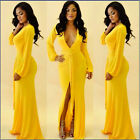 Women's Prom Gown Sexy Party Deep V Cocktail Evening Clubwear Bodycon Slit Dress
