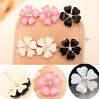 3 Pairs New Women's Silver Plated Flower Type Ear Stud Earrings Party