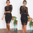 Sexy Womens Fashion Bodycon Lace Party Cocktail Tops+Skirt Mini Dress Clubwear
