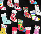 20 / 40 / 60 Christmas Stocking Craft Buttons Embellishments Wooden Mixed