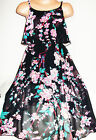GIRLS BLACK MIX ORIENTAL BLOSSOM PRINT LONG LENGTH MAXI CHIFFON PARTY DRESS