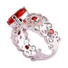 Fashion Jewelry Deluxe Garnet Pink Topaz Gemstone Silver Ring Size 6 7 8 9 10