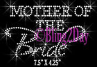 Mother of the Bride - Bachelorette Iron On Rhinestone Transfer for Shirts Bling