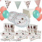 Patchwork Owl Party Kit Plates Cups  Baby Shower Christening First 1st Birthday