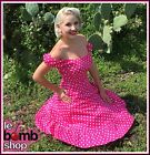 50s Style BUBBLEGUM PINK POLKA Dot PLUS SIZE Peasant Top On/Off T/Shoulder Dress
