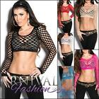 NEW SEXY WOMENS MESH CROP TOP XXS XS S M L LADIES FISHNET SHIRT online CLUBWEAR