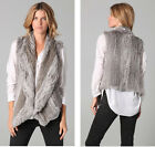 TOPFUR Fashion 100% Real Knit Rabbit Fur Vest  Jacket Women's Autumn V0032